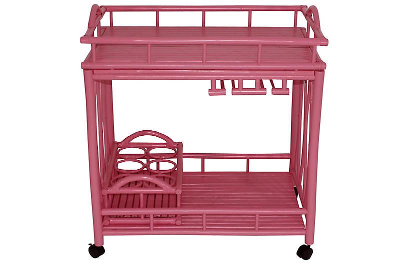 Bamboo Bar Cart, Pink
