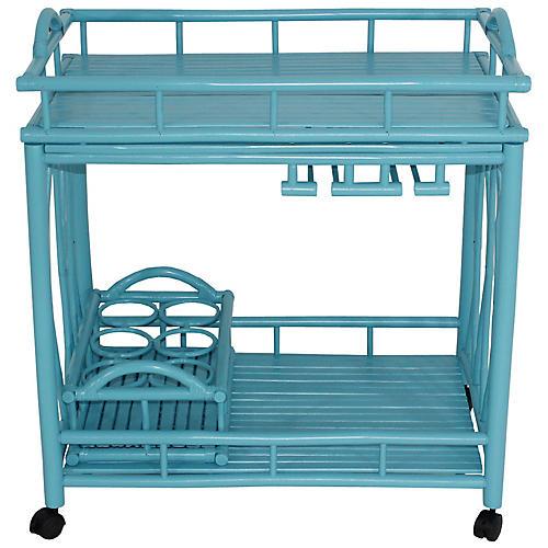 Bamboo Bar Cart, Turquoise