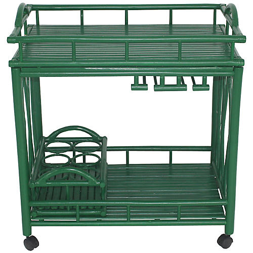 Bamboo Bar Cart, Green
