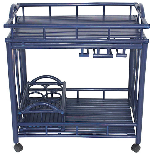 Bamboo Bar Cart, Navy