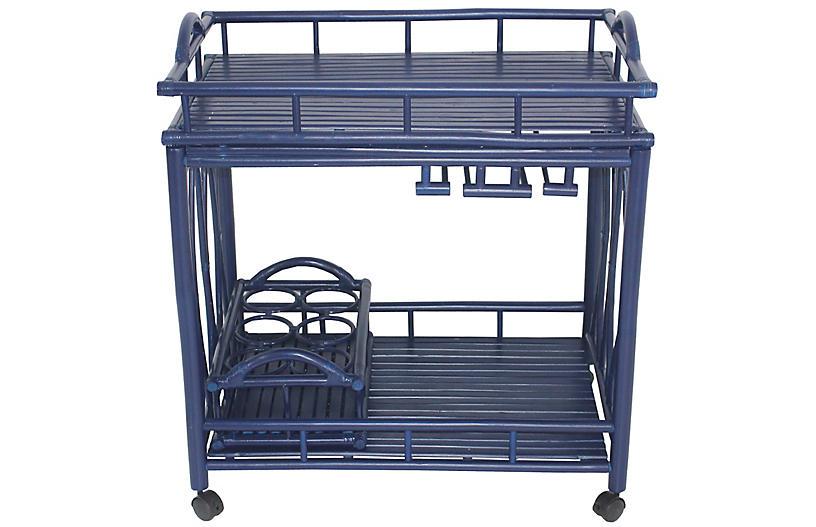 Bamboo Bar Cart, Navy