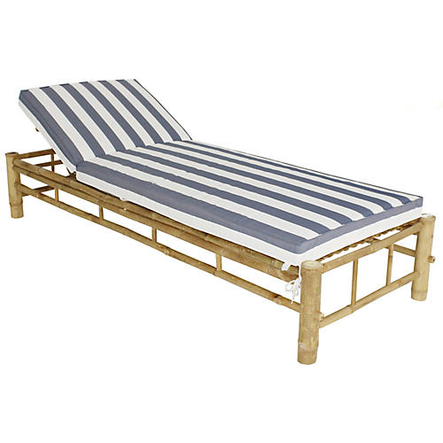 Loungera Chaise, Natural/Blue