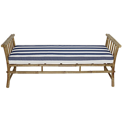 Bamboo Bench, Natural/Blue