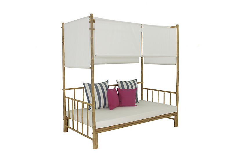 Bamboo Daybed, White/Multi