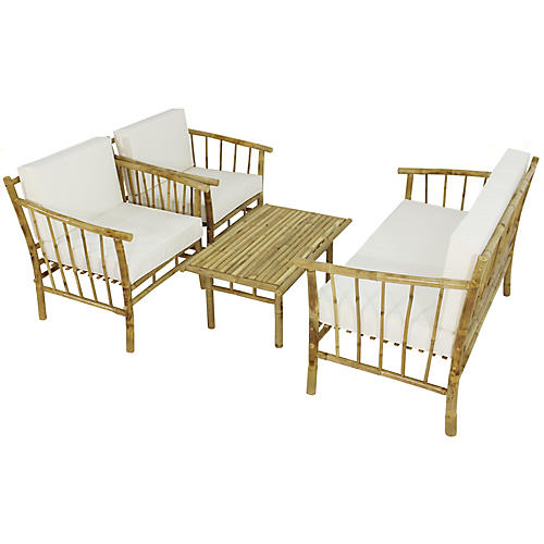 Bamboo 4-Pc Lounge Set, Natural/White