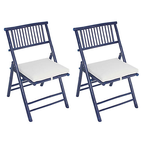 S/2 Champion Side Chairs, Navy