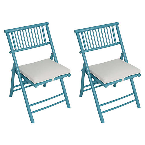 S/2 Champion Side Chairs, Turquoise