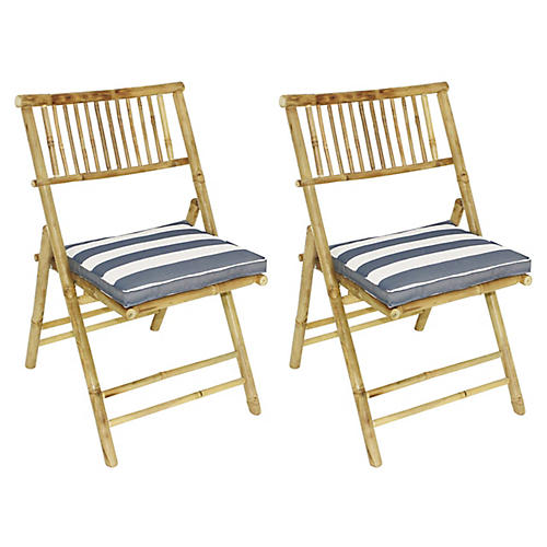 S/2 Champion Side Chairs, Natural/Blue - Outdoor Furniture One Kings Lane