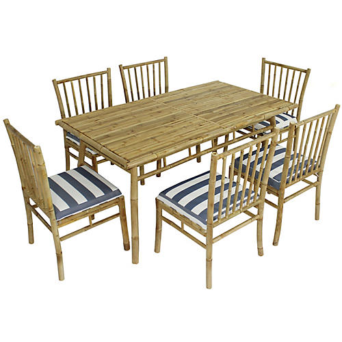 Social 7-Pc Dining Set, Natural/Blue