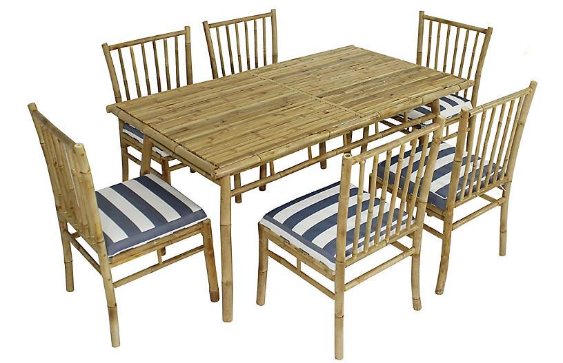 Social 7-Pc Dining Set, Natural/Blue