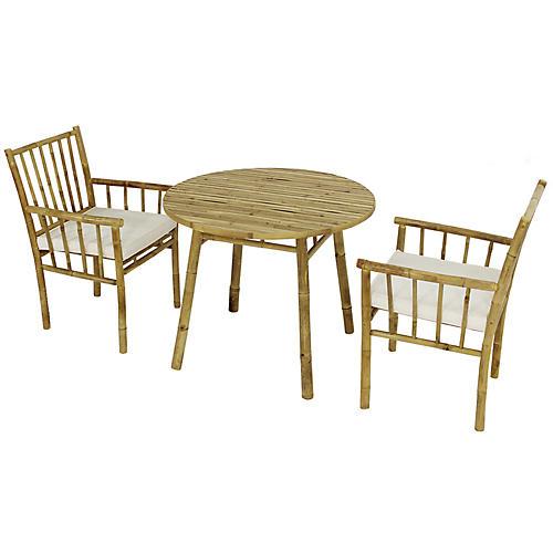 Bamboo 3-Pc Round Dining Set, White/Natural