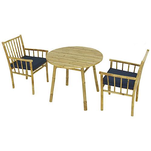 Bamboo 3-Pc Round Dining Set, Navy/Natural