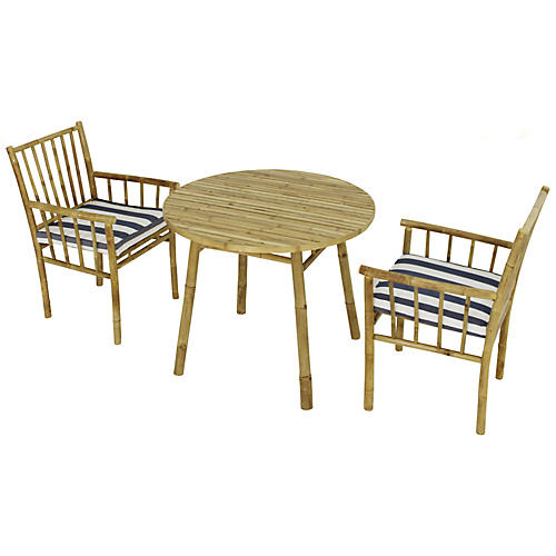 Bamboo 3-Pc Round Dining Set, Blue/Natural