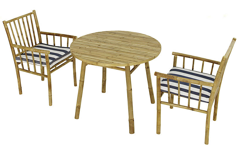 Bamboo 3 Pc Round Dining Set Blue Natural
