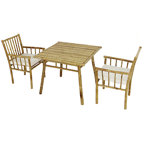 Bamboo 3-Pc Square Dining Set, White/Natural