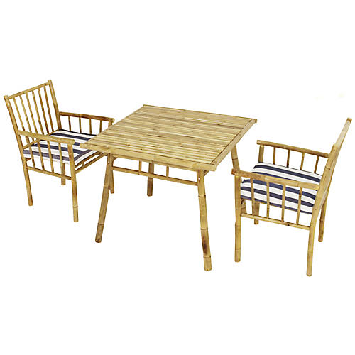 Bamboo 3-Pc Square Dining Set, Blue