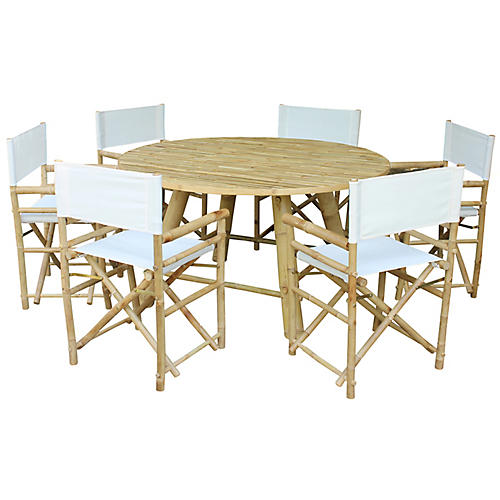Bamboo 7-Pc Dining Set, White/Natural