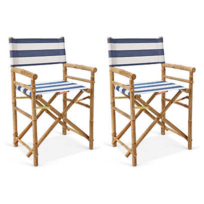 S/2 Director's Bamboo Chairs, Blue/White