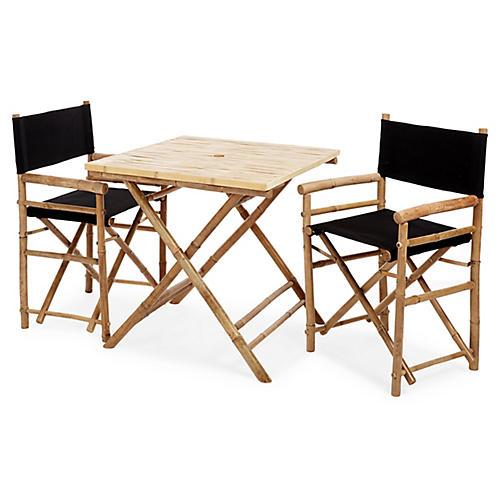 Square 3-Pc Dining Set, Black