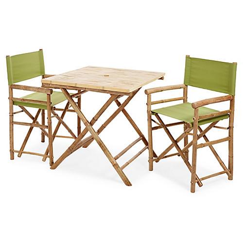 Square 3-Pc Dining Set, Green