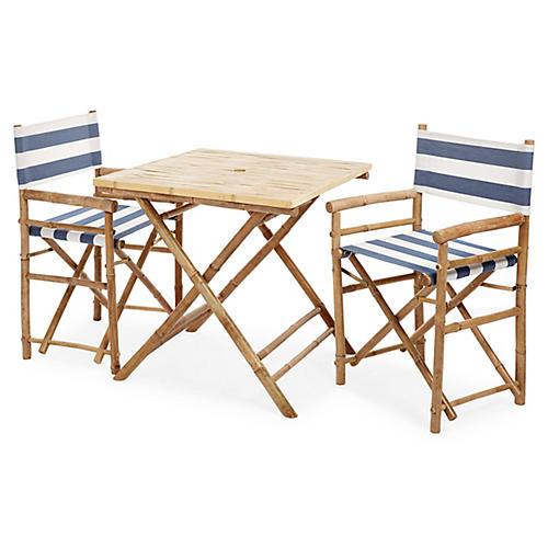 Square 3-Pc Dining Set, Navy/White