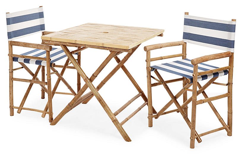 Square 3-Pc Dining Set, Navy/White