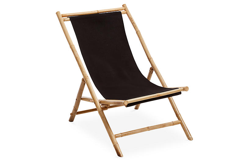 Bamboo Lounge Chair, Black