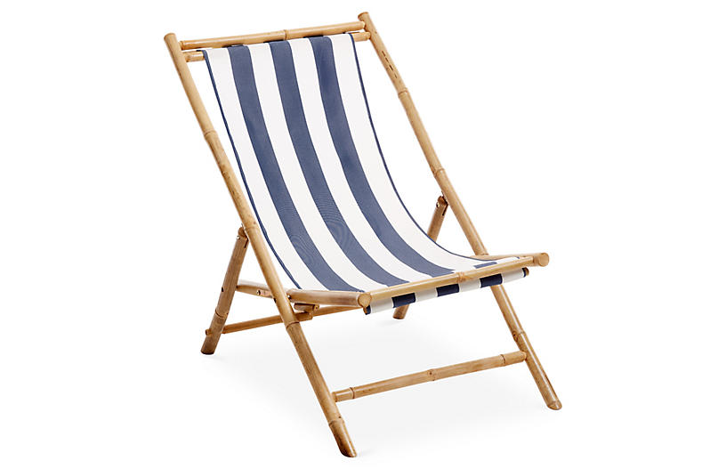Bamboo Lounge Chair, White/Blue
