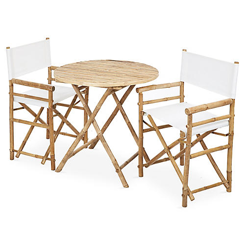 Director's 3-Pc Round Dining Set, White/Natural