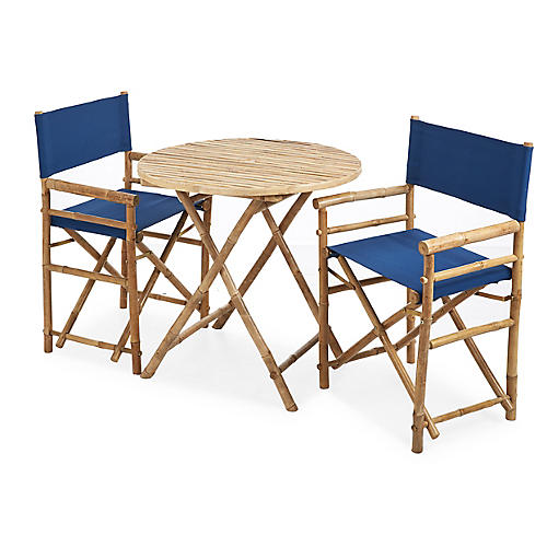 Director's 3-Pc Round Dining Set, Navy
