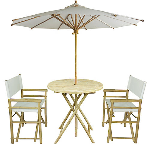 Umbrella 4-Pc Round Dining Set, White