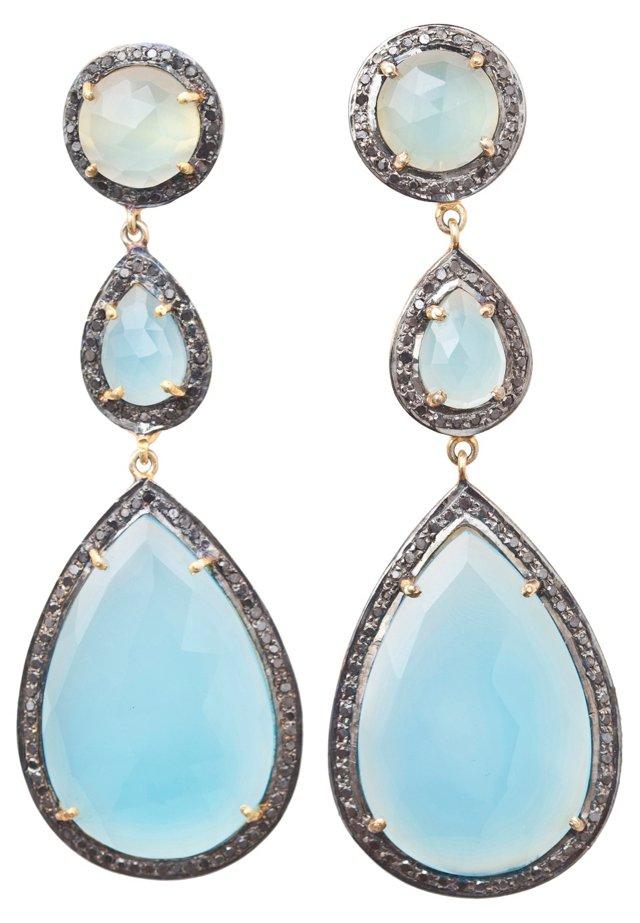 Aqua Chalcedony Triple-Drop Earrings