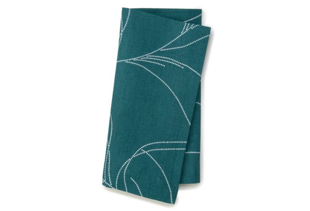 S/4 Feather Napkins, Teal