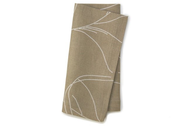 S/4 Feather Napkins, Taupe