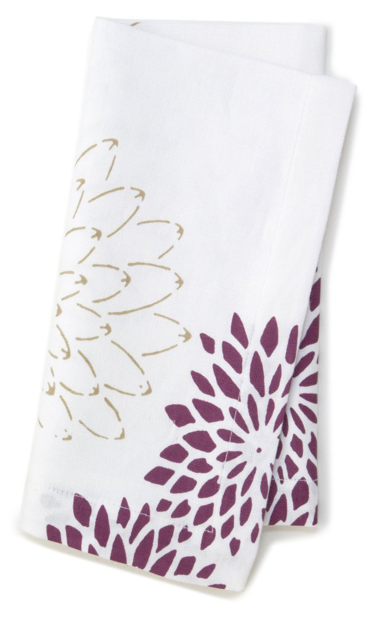 S/4 Floral Dinner Napkins, Plum