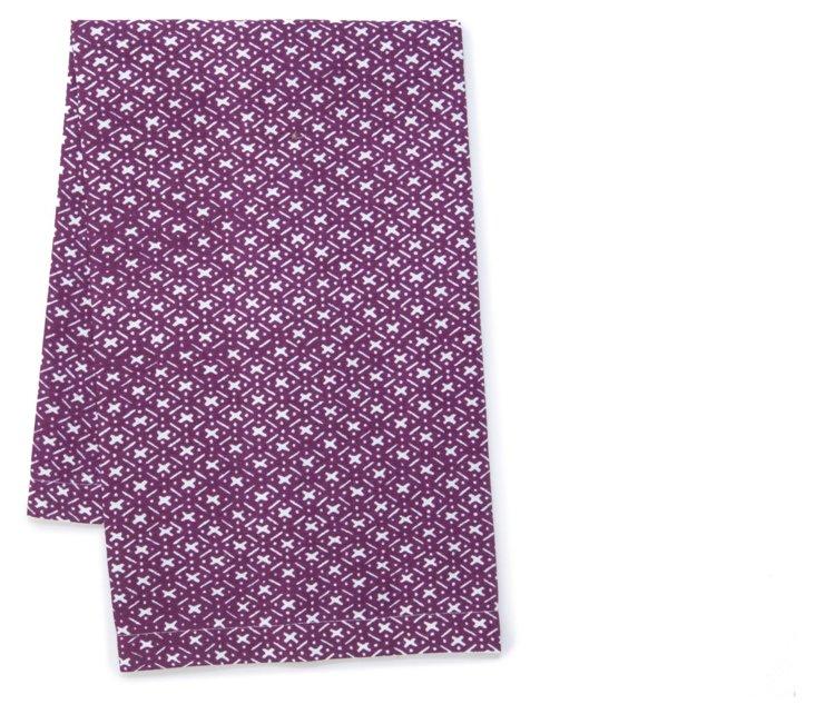 S/2 Crisscross Tea Towels, Plum
