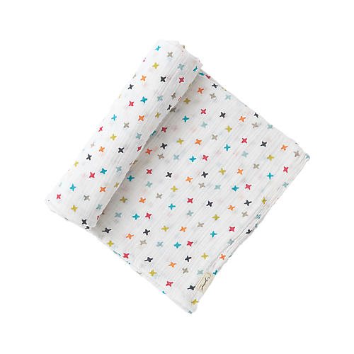 Rainbow Jack Swaddle, White/Multi