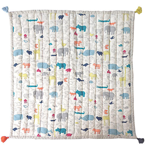 Noah's Ark Blanket, White/Multi
