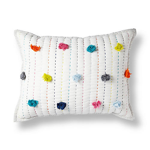 Pom-Pom 12x16 Pillow, White/Multi