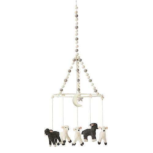 Little Lamb Mobile, White/Gray