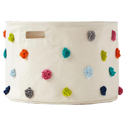Pom-Pom Drum Storage, Beige/Multi