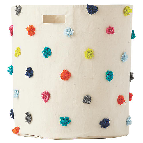 Pom-Pom Kids' Hamper, Beige/Multi