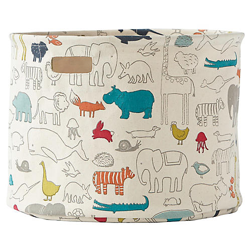 Noah's Ark Drum Storage, Beige/Multi