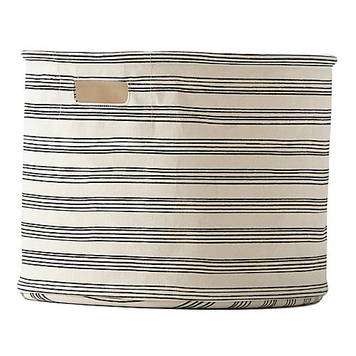 Stripe Drum Storage, Black/Beige