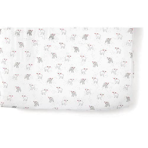 Lamb Baby Crib Sheet, Light Gray