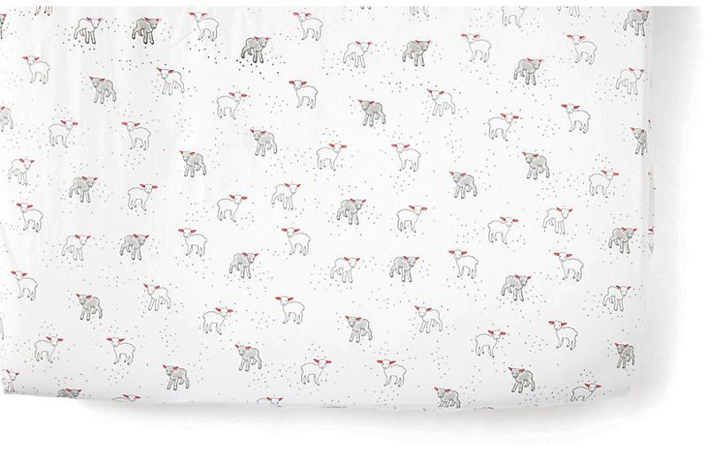 Lamb Baby Crib Sheet, Light Gray