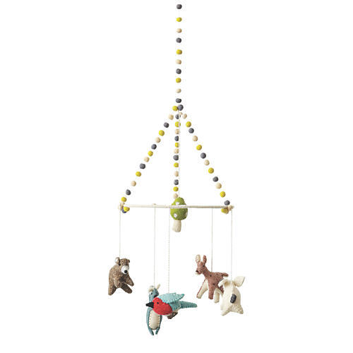 Woodland Creatures Mobile, White