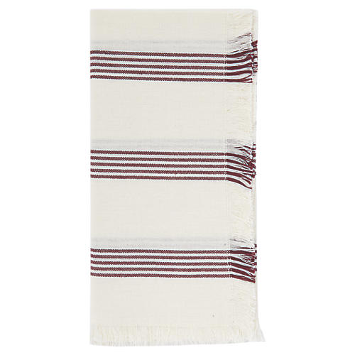 S/4 Chambray Stripe Dinner Napkin, Wine/White
