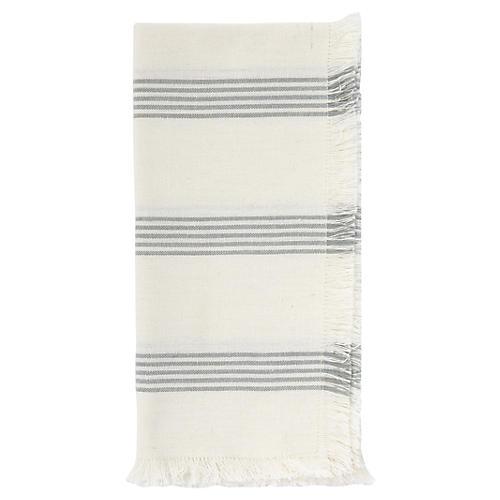 S/4 Chambray Stripe Dinner Napkin, Mist/White