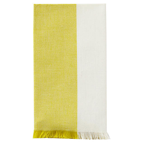 S/4 Chambray Fringe Dinner Napkin, Yellow/White